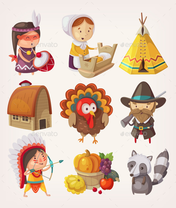 Set of Thanksgiving Items and Characters - Seasons/Holidays Conceptual