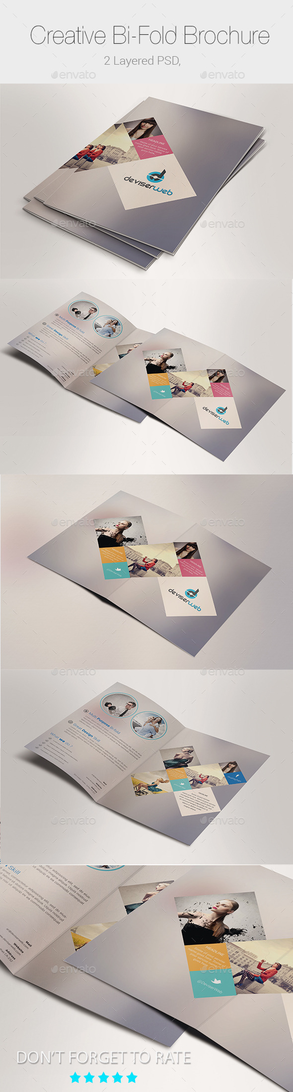 Minimal Creative Bi-fold Brochure Templates - Corporate Brochures