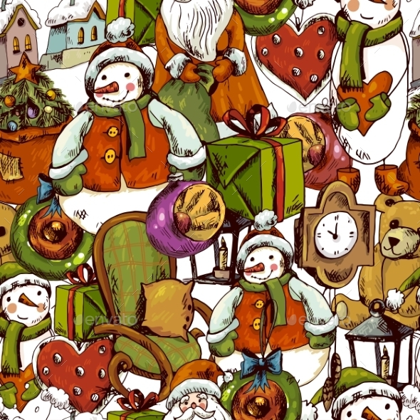 Hand-Drawn Christmas Seamless Background - Patterns Decorative