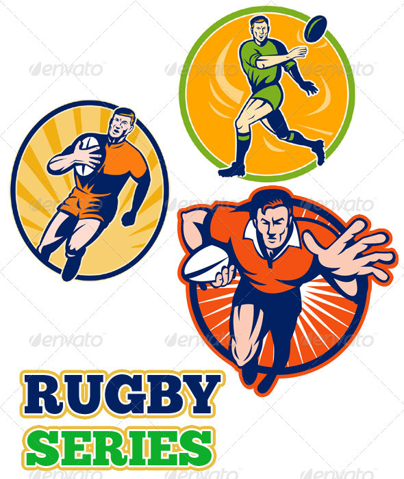 Rugby Player Running Passing Retro Collection Set - Sports/Activity Conceptual