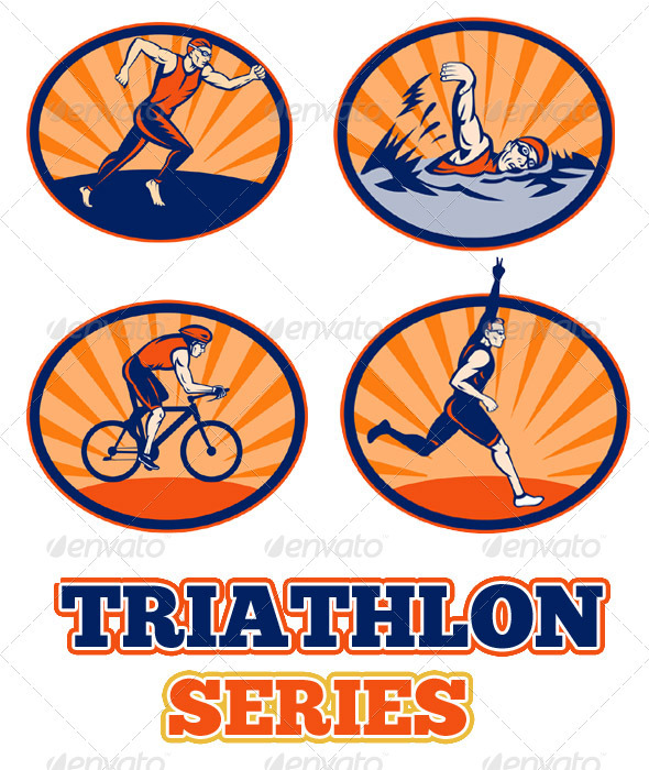 Triathlon Athlete Swim Run Bike Collection Set - Characters Vectors