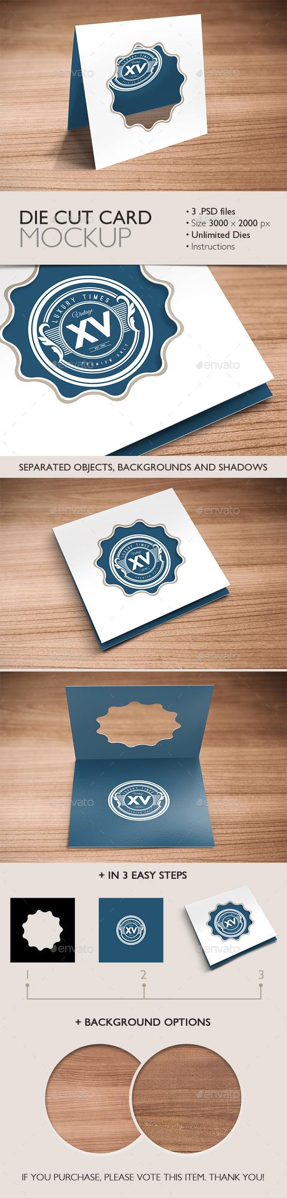 Die Cut Card Mockup - Product Mock-Ups Graphics