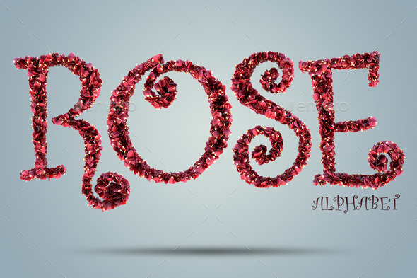 Rose Alphabet - Text 3D Renders