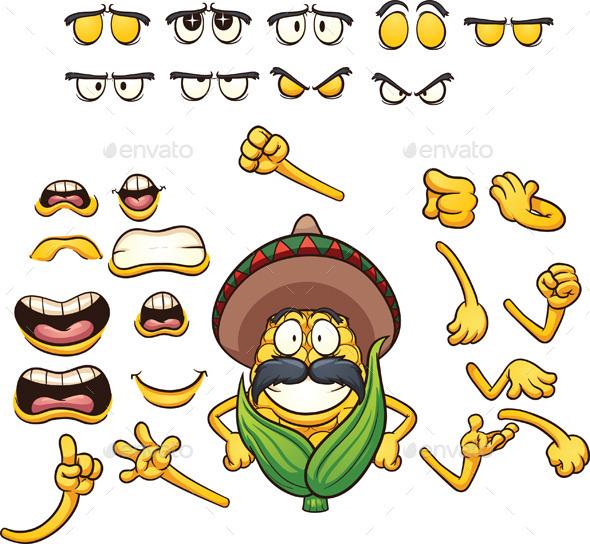 Mexican Corn - Characters Vectors