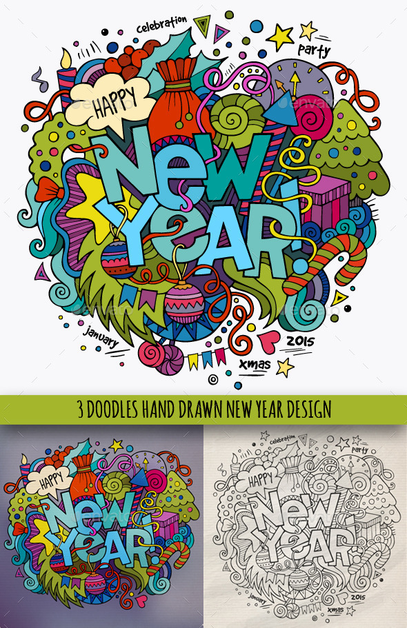 3 New Year Doodles Designs - New Year Seasons/Holidays