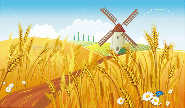 Rural Landscape with Windmill - Landscapes Nature