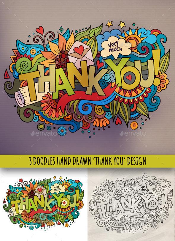 3 Thank You Doodles Designs - Miscellaneous Conceptual