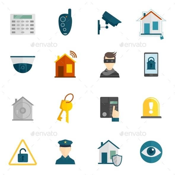 Home Security Icon Flat - Technology Icons