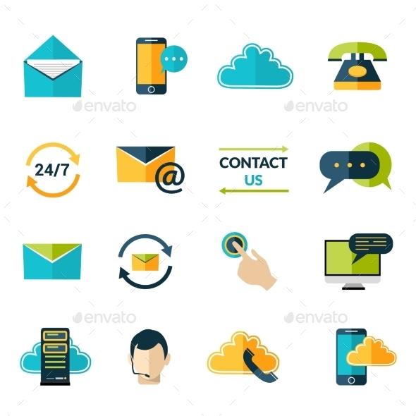 Contact Us Icons Set - Communications Technology