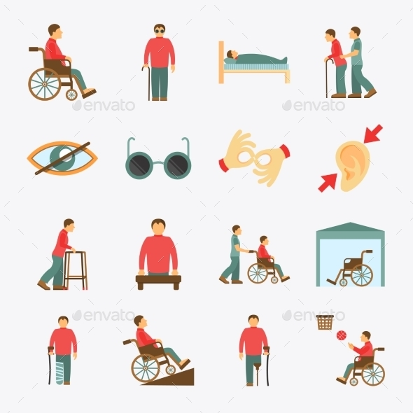 Disabled Icons Set Flat - People Characters
