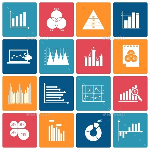 Business Chart Icons Set White - Business Icons