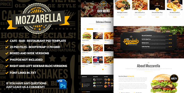 Mozzarella Cafe Bar PSD Template  - Food Retail