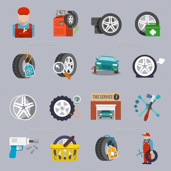 Tire Service Icon Flat - Technology Conceptual