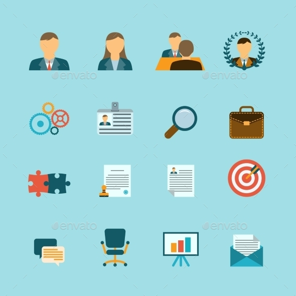 Human Resources Flat Icons Set - Business Icons