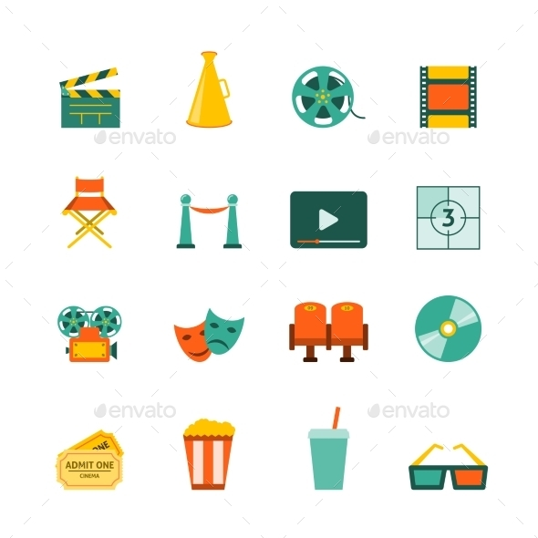 Cinema Flat Icons Set - Media Icons