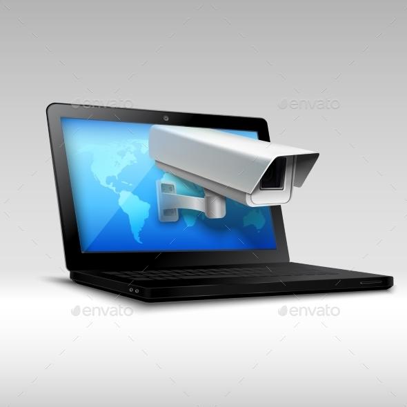 Laptop Web Security - Technology Conceptual