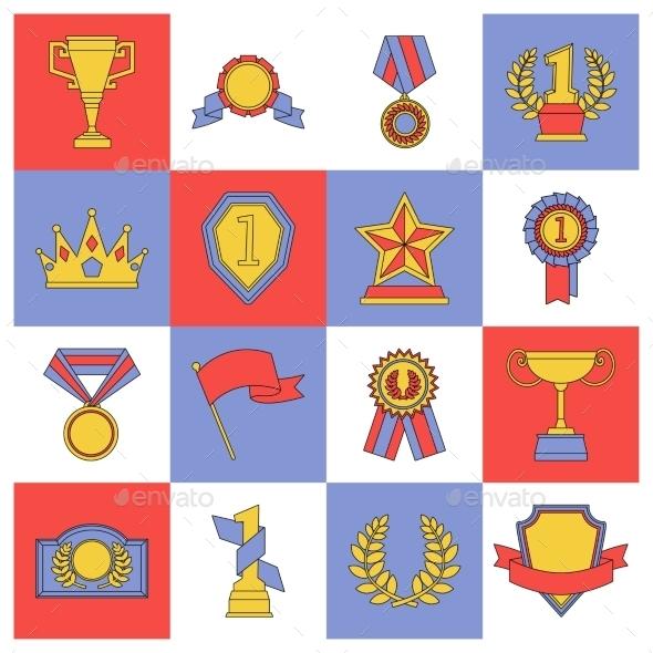 Award icons set flat line - Objects Icons