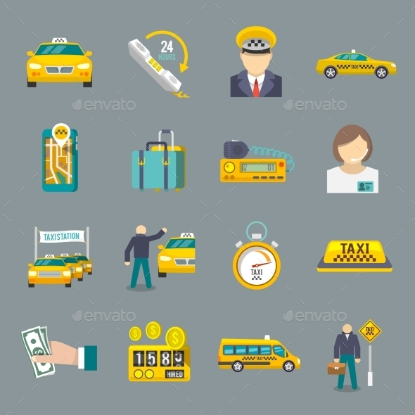 Taxi icons flat set - Icons