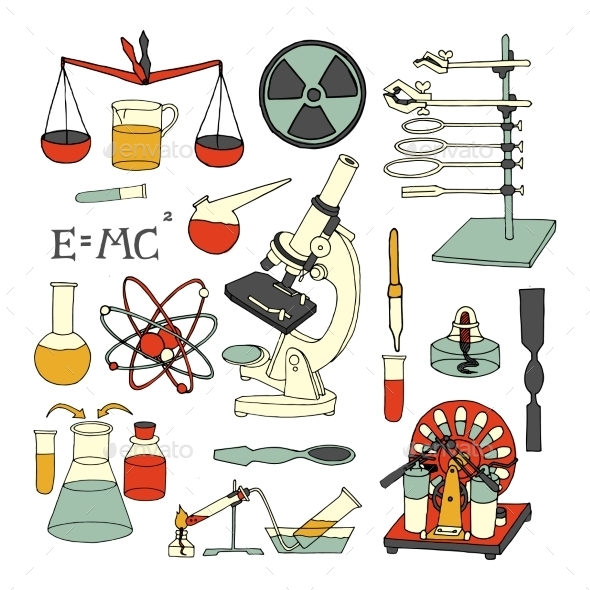 Science Sketch Icons - Technology Conceptual