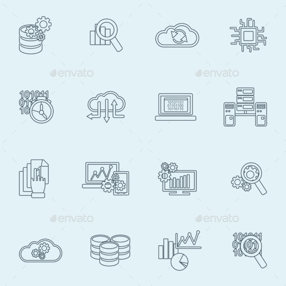 Database analytics icons outline - Technology Icons