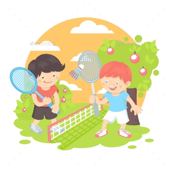 Boys Playing Badminton - Sports/Activity Conceptual
