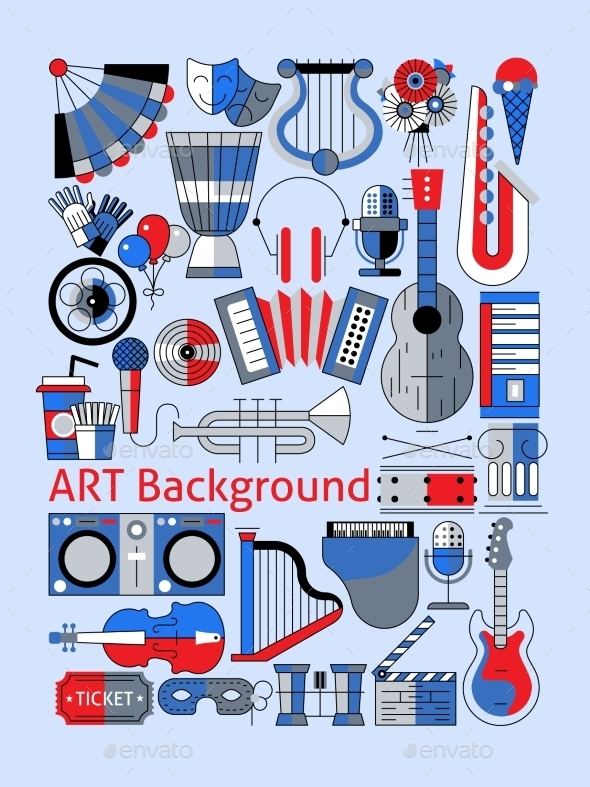 Art Flat Line Set - Decorative Vectors