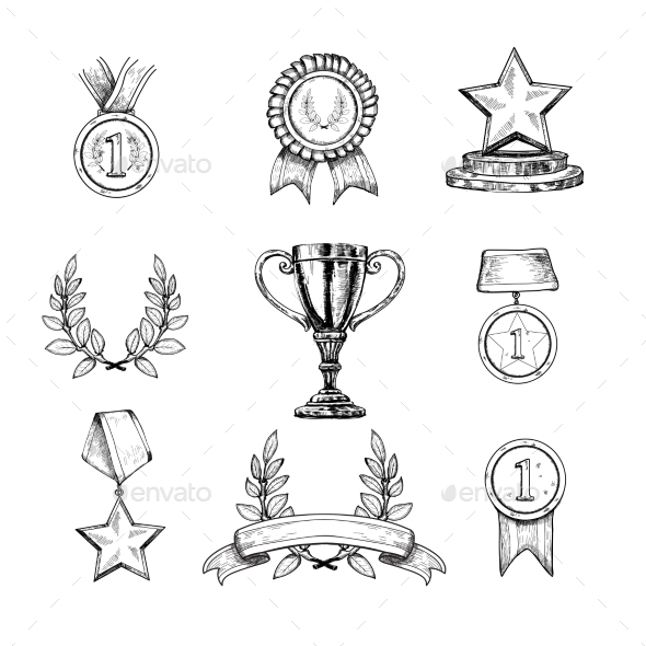 Award Icons Set - Decorative Symbols Decorative