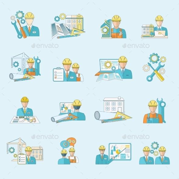 Engineer Icons - Web Elements Vectors