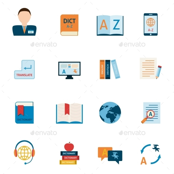Translation and Dictionary Icons Set - Communications Technology