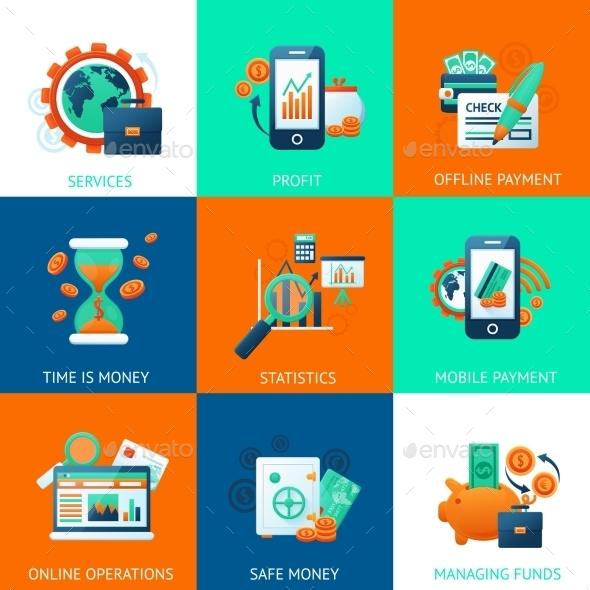 Bank Icons Set - Business Conceptual