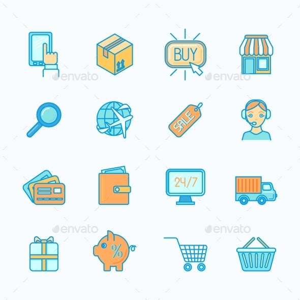 Shopping E-Commerce Icons Set Flat Line - Web Elements Vectors