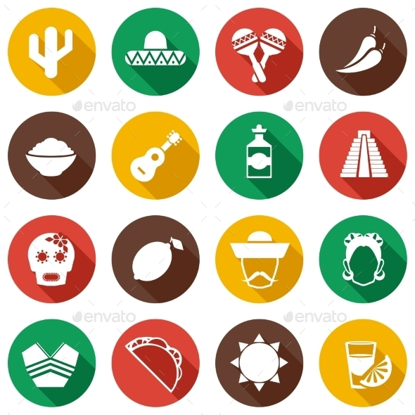 Mexico Flat Icons - Travel Conceptual