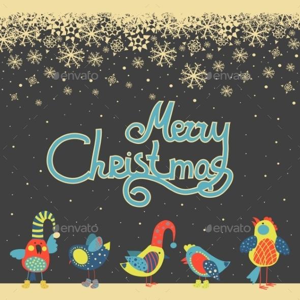 Birds Celebrating Christmas - Christmas Seasons/Holidays