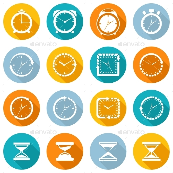 Clock Icon Flat Set - Objects Vectors