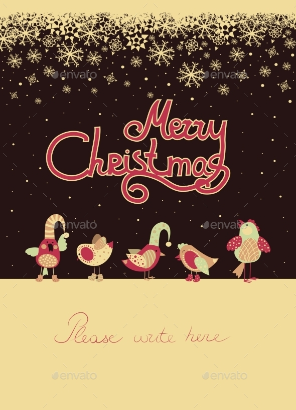 Birds Celebrating Christmas - Christmas Seasons/Holidays