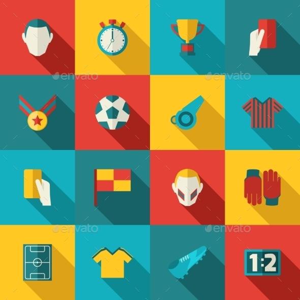Soccer Icons Flat - Web Elements Vectors