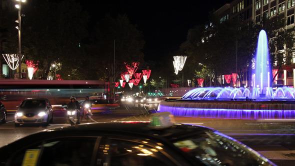 Barcelona Christmas Street Lights Decorations (Stock Footage)