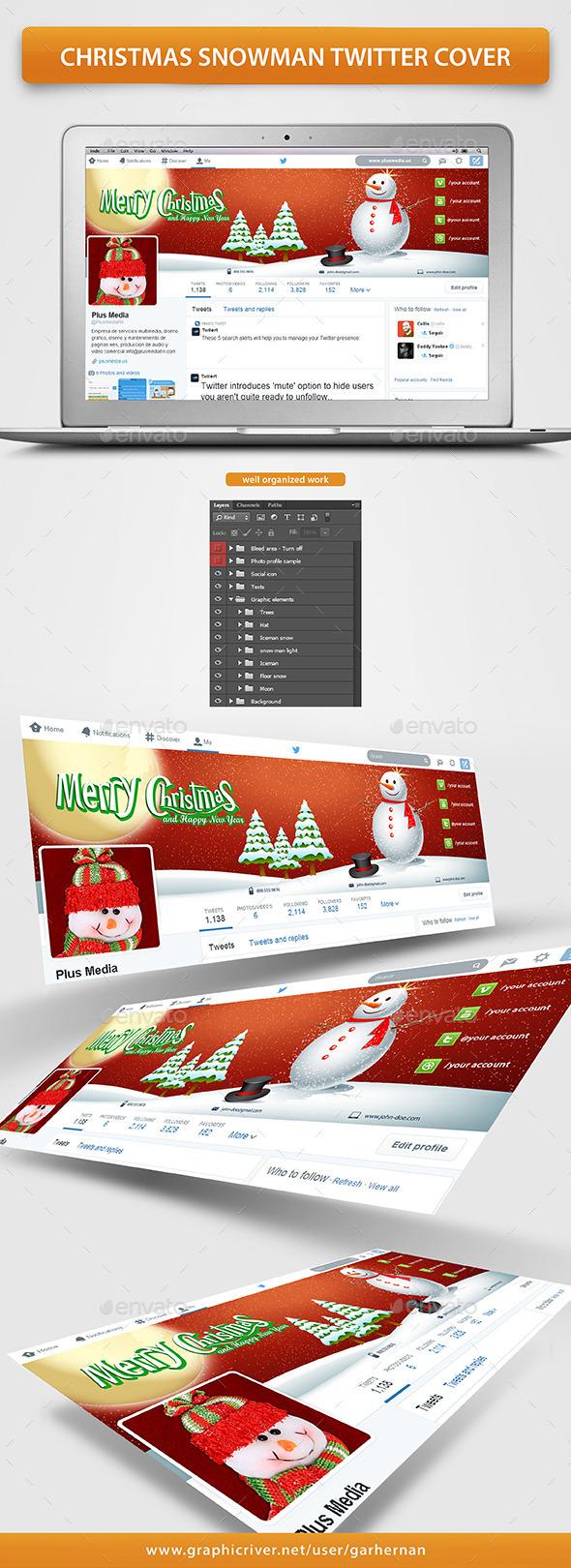 Christmas Snowman Twitter Cover - Twitter Social Media