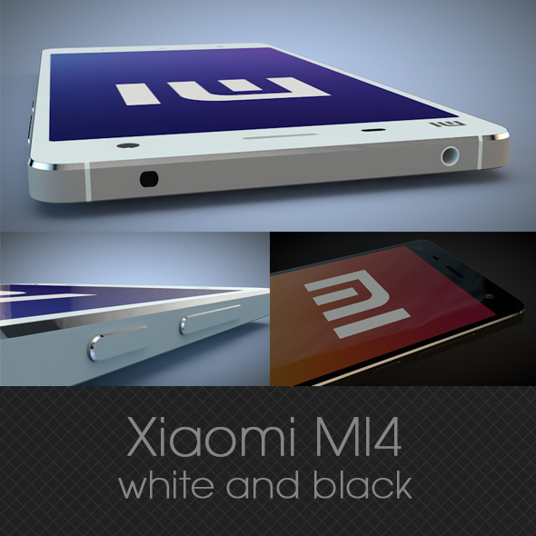 Xiaomi MI4 white and black 3D model - 3DOcean Item for Sale