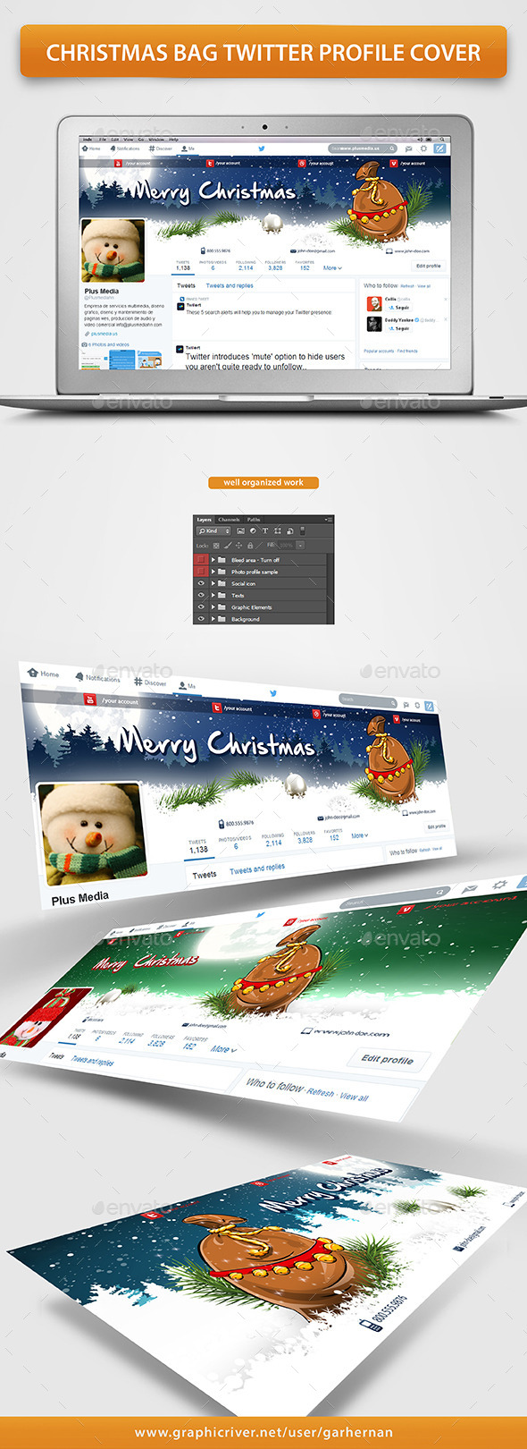 Christmas Bag Twitter Profile Cover - Twitter Social Media