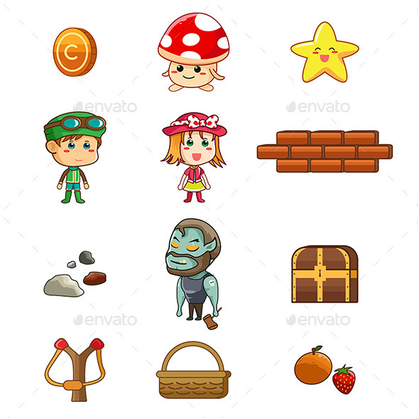 Character and Game Elements - Objects Vectors
