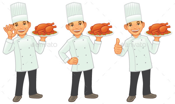 Chef with Roasted Chicken - People Characters