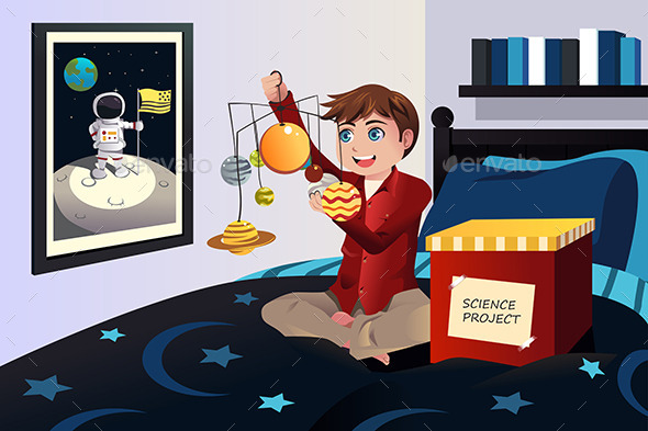 Boy making a Solar System Science Project - People Characters