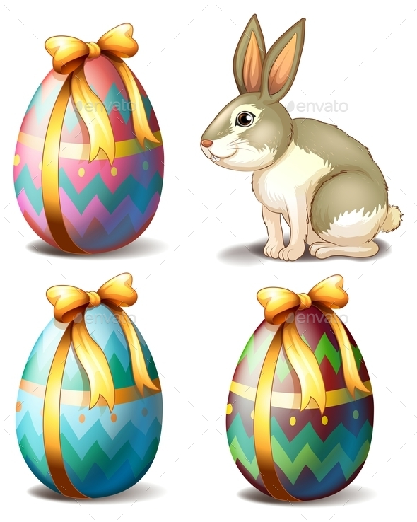 Colorful Eggs and Bunny - Miscellaneous Seasons/Holidays