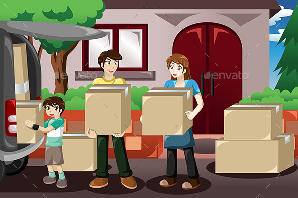 Family Moving House - People Characters