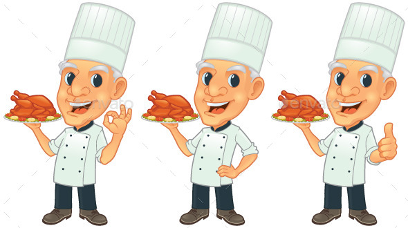 Senior Chef with Roasted Chicken - People Characters