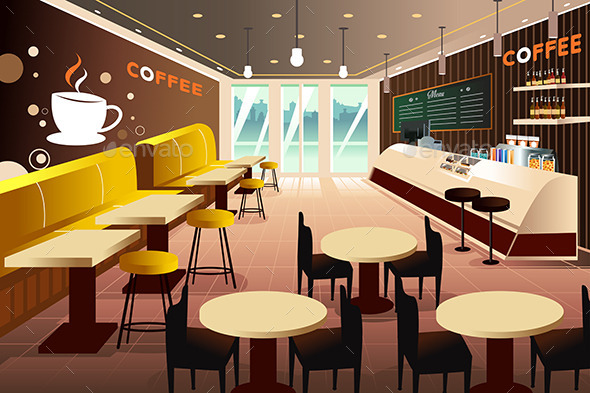 Interior of a Modern Coffee Shop - Objects Vectors