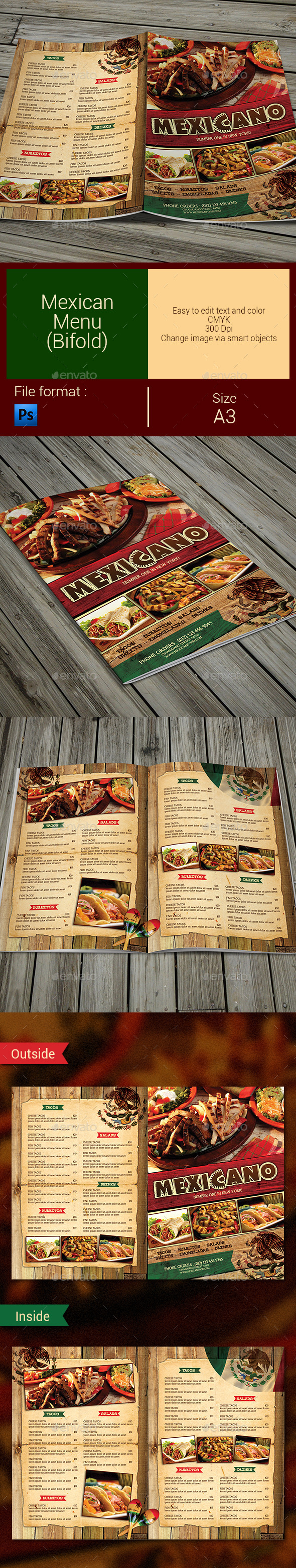 Mexican Menu (Bifold) - Food Menus Print Templates