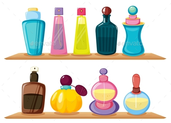 Wooden Shelves with Different Perfumes - Man-made Objects Objects