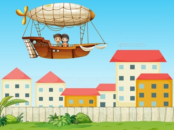 Two Kids Riding in an Aircraft Above the Village - People Characters